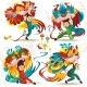 Chinese Lunar New Year Lion Dance Fight Isolated