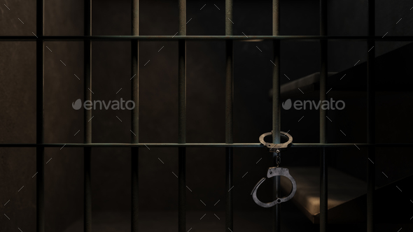 Dimly Lit Prison Cell and Handcuffs - Stock Photo - Images