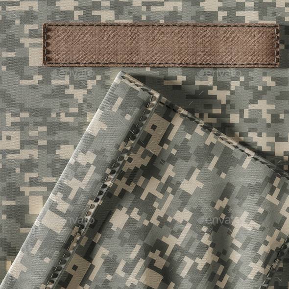 Closeup of Camouflage Uniform and Blank Name Patch - Stock Photo - Images
