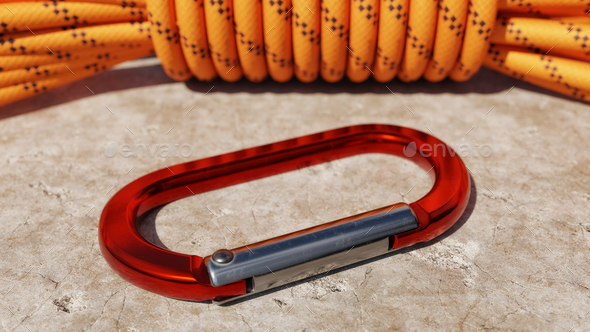 Carabiner and Climbing Rope - Stock Photo - Images