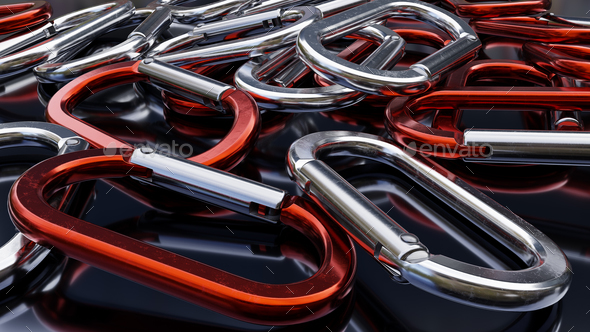 Red and Silver Carabiners - Stock Photo - Images