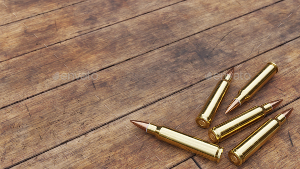 Rifle Ammunition on Old Wooden Boards - Stock Photo - Images