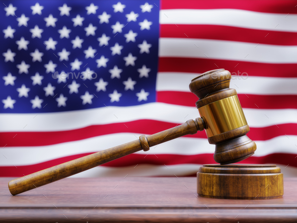 Gavel in front of American Flag - Stock Photo - Images