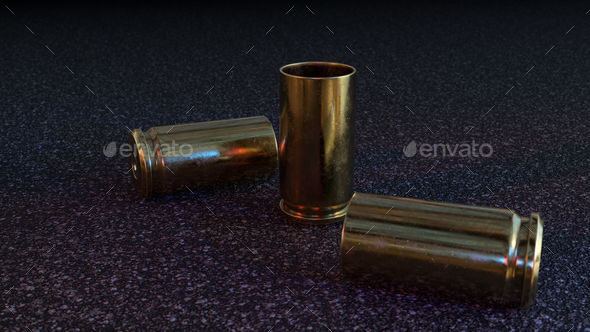 Empty Pistol Casings on Asphalt - Stock Photo - Images