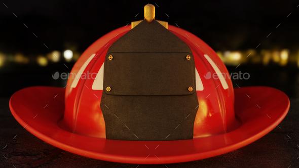 Blank Firefighter Helmet on asphalt - Stock Photo - Images