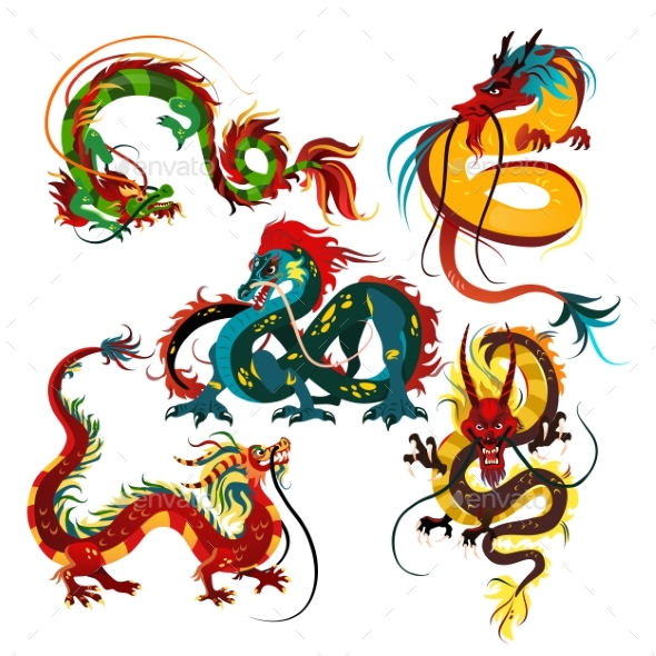 Traditional Chinese Dragons - Animals Characters
