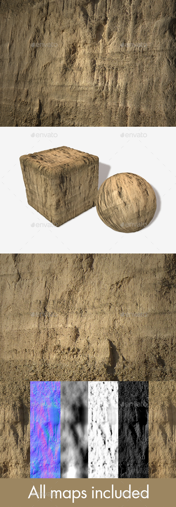 Dirt Cliff Face 1 Seamless Texture - 3DOcean Item for Sale