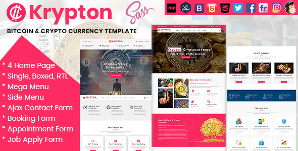 Krypton Bitcoin & Crypto Currency HTML Template - Business Corporate