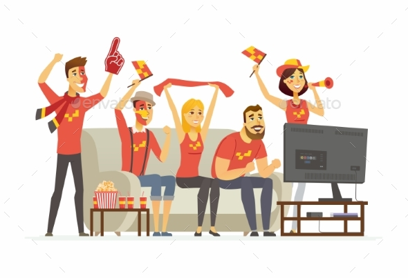 Sport Fans Cartoon People Character Isolated - Sports/Activity Conceptual