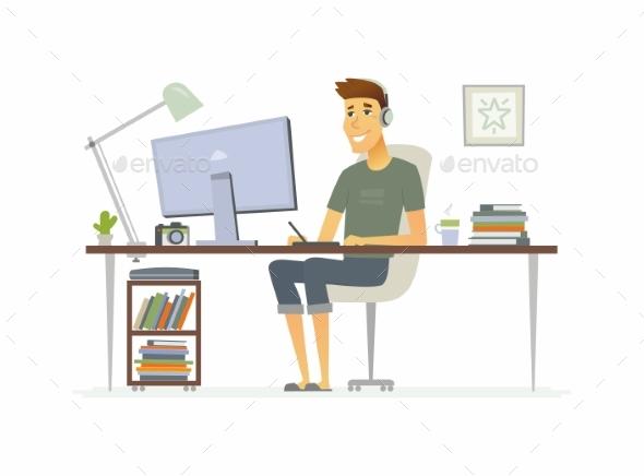 Freelance Worker Cartoon People Character - People Characters
