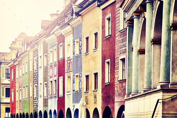 Old merchant houses facades in the Poznan, Poland. - Stock Photo - Images