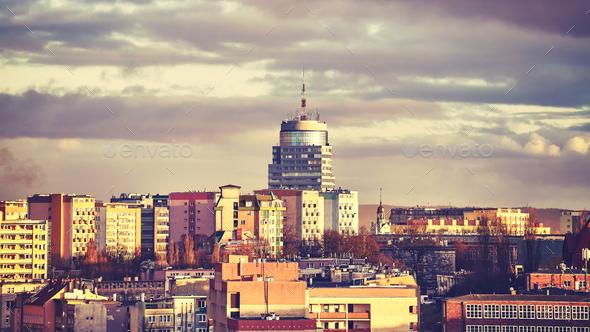 Szczecin City skyline at sunset, Poland. - Stock Photo - Images