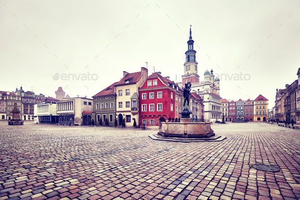 Market Square in the Poznan Old Town, Poland. - Stock Photo - Images