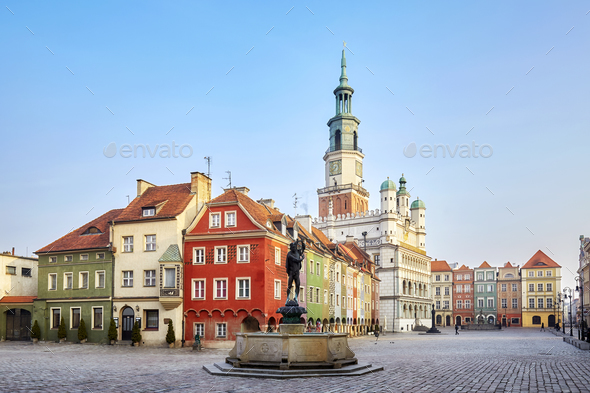 Market Square in the Poznan Old Town, Poland - Stock Photo - Images