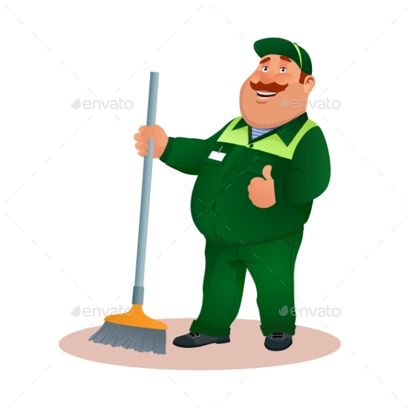 Cartoon Cleaner in Uniform From Janitorial Service - People Characters
