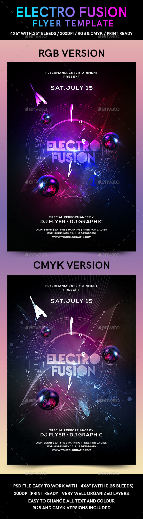 Electro Fusion Flyer Template - Clubs & Parties Events