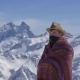 Man in National Clothes Against the Background of Mountains - VideoHive Item for Sale