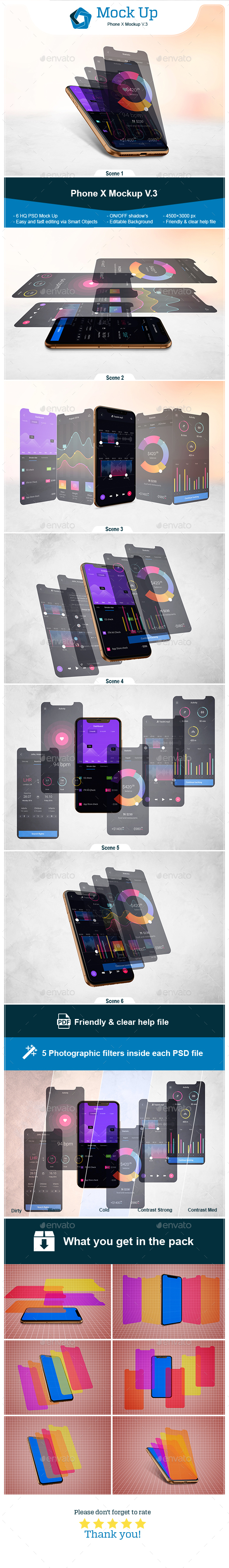 Phone X Mockup V.3 - Product Mock-Ups Graphics