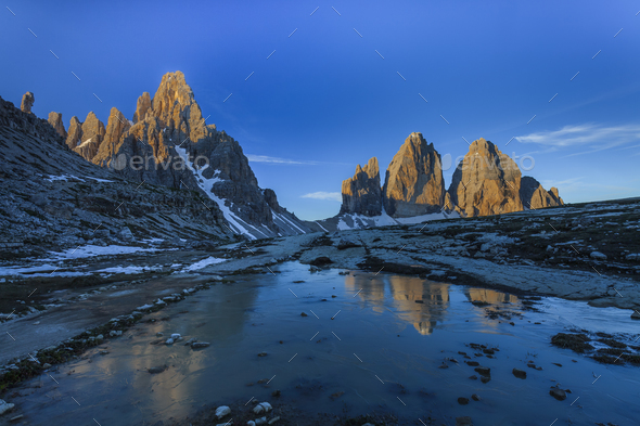 Tre cime di Lavaredo. Dolomite Alps, Italy - Stock Photo - Images