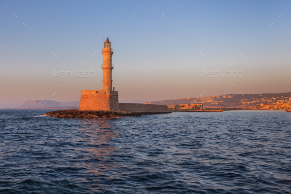 sunset in port of Chania, Crete - Stock Photo - Images