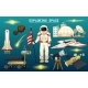 Astronaut Spaceman and Planets in Solar System