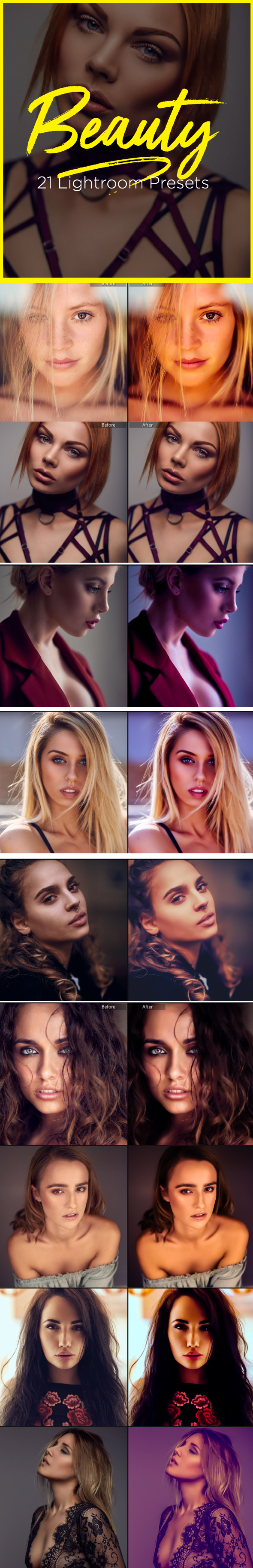 21 Pro Beauty Portrait Retouching Lightroom Presets - Portrait Lightroom Presets