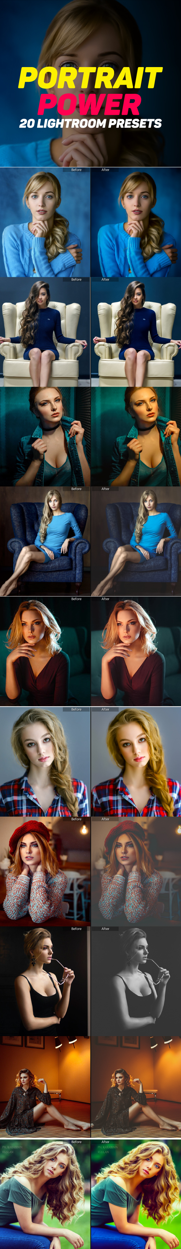 20 Portrait Lightroom Presets - Portrait Lightroom Presets