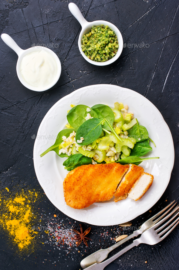 chicken breast with salad - Stock Photo - Images