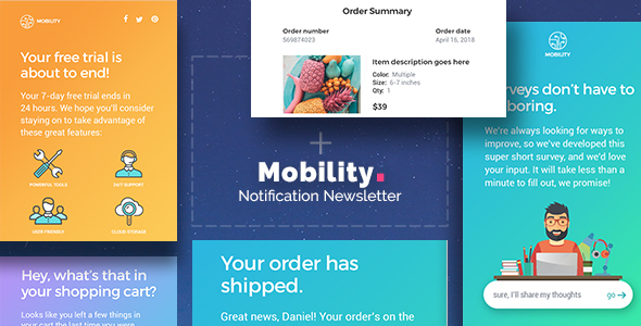 Mobility - Notification Drag & Drop Email Template + Builder Access - Email Templates Marketing