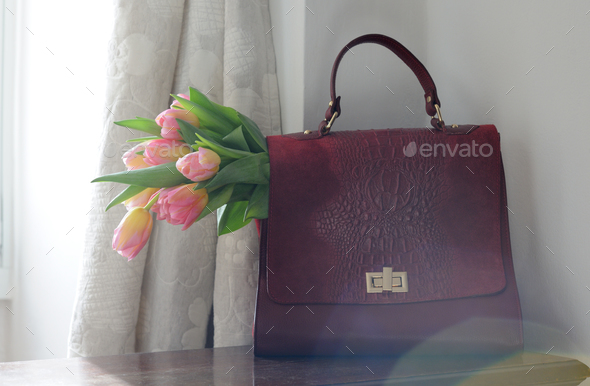 briefcase with pink tulips - Stock Photo - Images