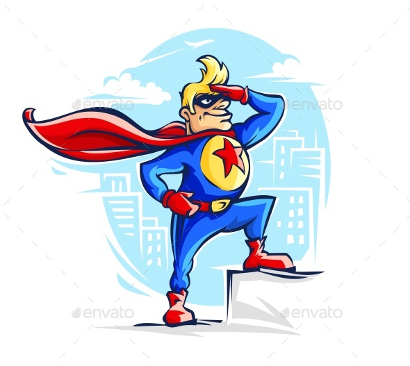 Brave Superhero Man in Costume with Red - Vectors