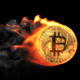 Golden Bitcoin Coin Flying Fire Flame - VideoHive Item for Sale