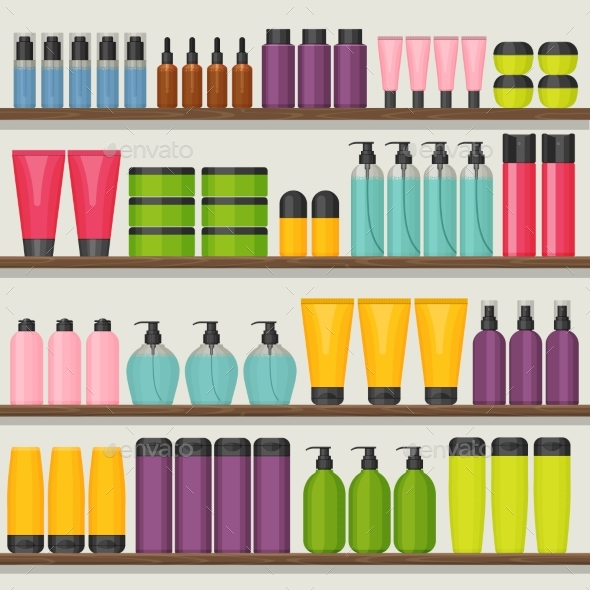 Colorful Vector Shop Shelves with Cosmetic Bottles - Miscellaneous Vectors