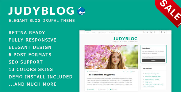 JudyBlog - Elegant Blog Drupal Theme - Drupal CMS Themes