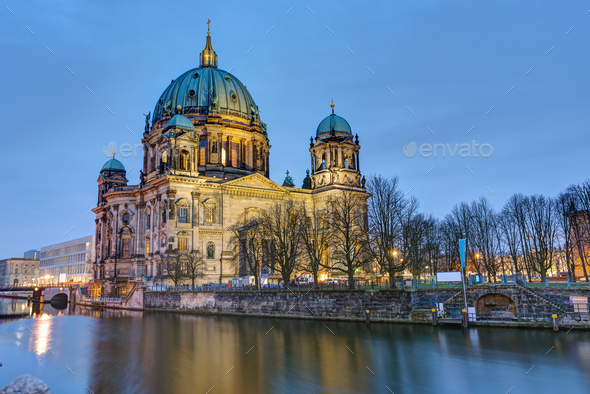 The Cathedral of Berlin with the river Spree  - Stock Photo - Images