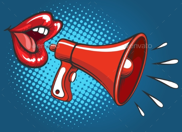 Popart Girl Mouth Screaming in Megaphone - Miscellaneous Vectors