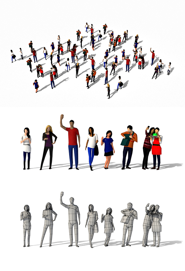 Low Poly Urban People Pack - 3DOcean Item for Sale