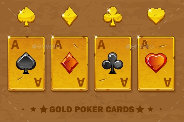 Old Golden Four Ace Poker Playing Cards - Miscellaneous Vectors