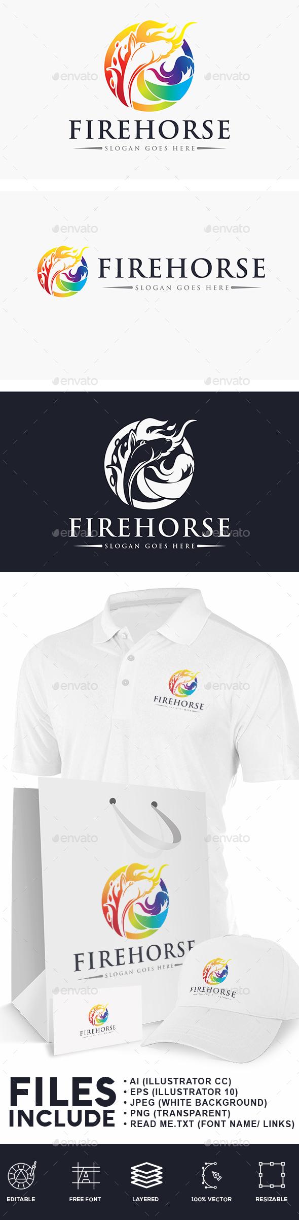 Fire Horse Logo - Animals Logo Templates