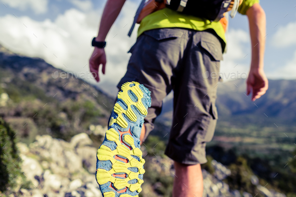 Hiking hiking or running with backpack shoes sole - Stock Photo - Images