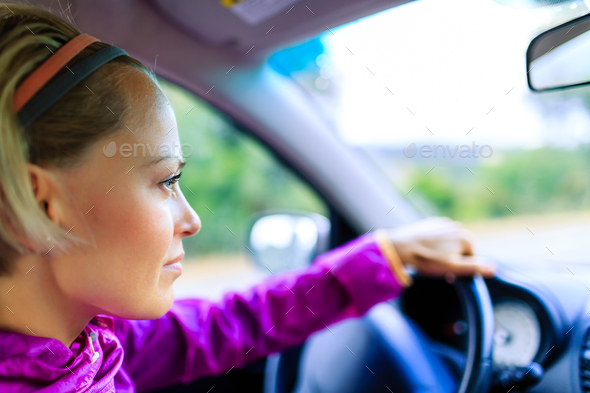 Car driving woman - Stock Photo - Images