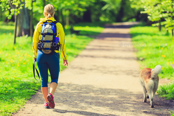 Woman runner walking with dog in summer park - Stock Photo - Images