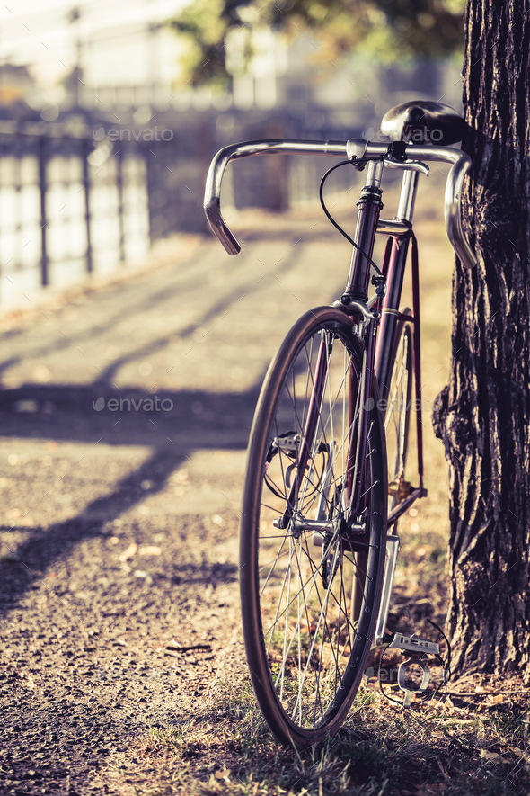 Bike road fixed gear bicycle - Stock Photo - Images
