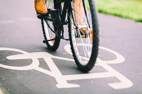 People cycling bike commuting - Stock Photo - Images