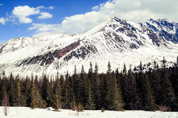 Mountains landscape, sunny winter day in Tatras - Stock Photo - Images