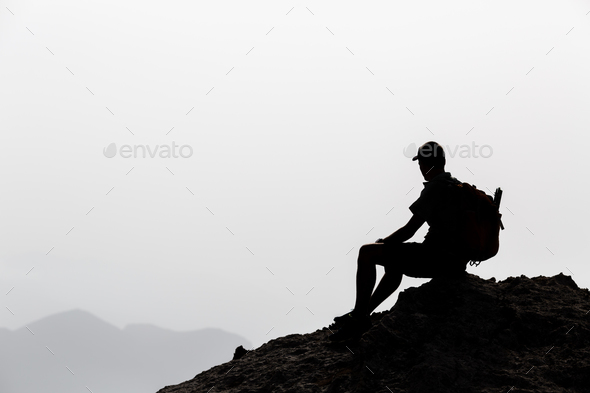 Man hiking inspiration silhouette - Stock Photo - Images