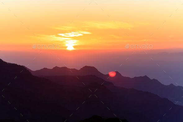 Mountains inspirational sunset landscape, islands and ocean - Stock Photo - Images
