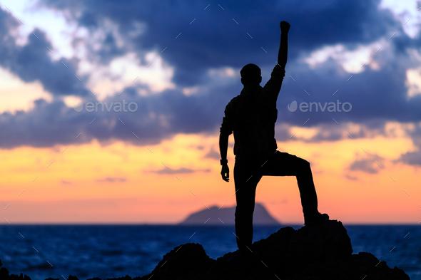 Happy success winner, life goal achievement - Stock Photo - Images