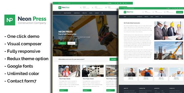 Neon-Press - Construction Business WordPress Theme - Business Corporate