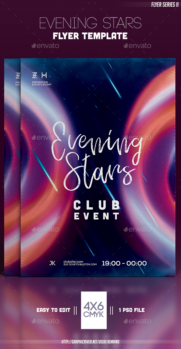 Evening Stars Flyer Template - Clubs & Parties Events